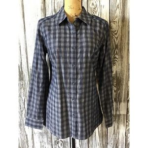 Isaac Mizrahi plaid button down blouse